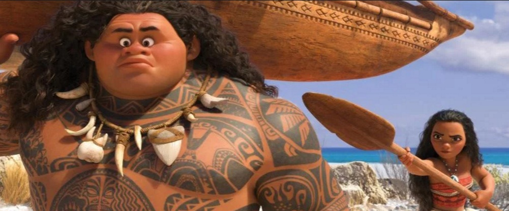"Maui (Dwayne Johnson) and Moana (Auli'i Cravalho) in a scene from Disney's ""Moana."""