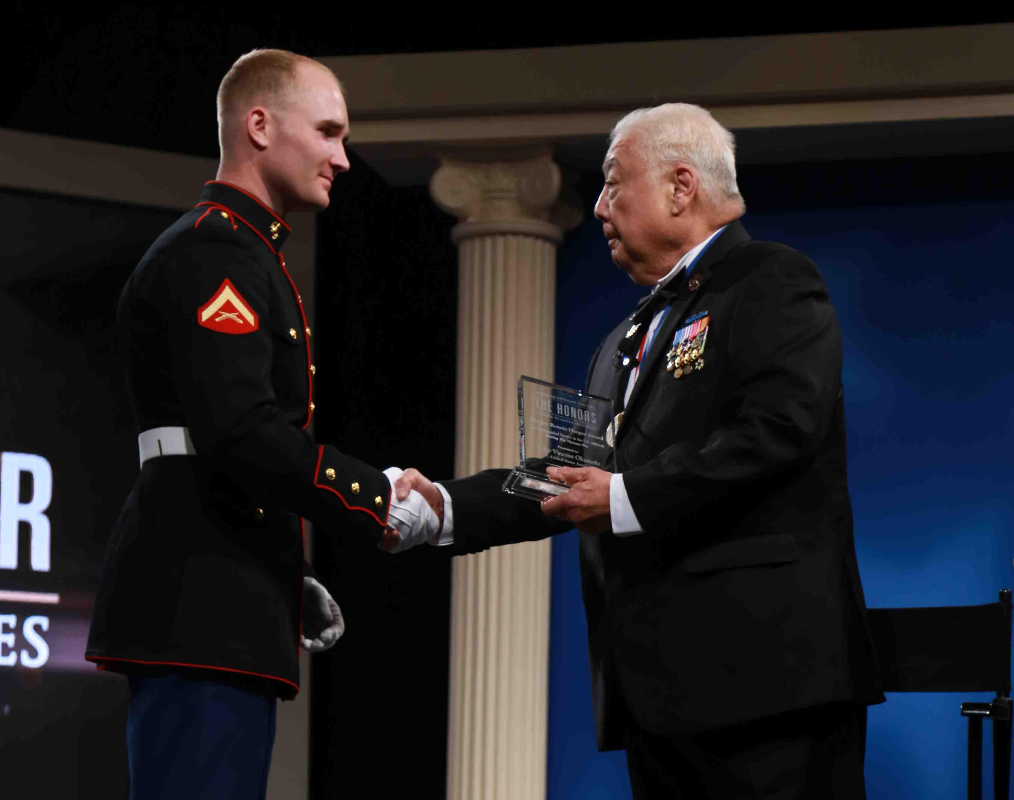 Vincent Okamoto is recognized at the American Veterans Center awards ceremony.