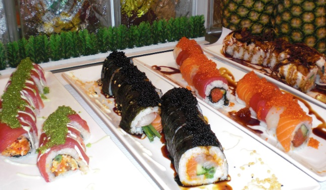 Selections of seafood and sushi.