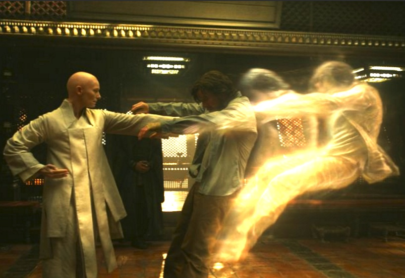 "The Ancient One (Tilda Swinton) teaches sorcery to Dr. Strange (Benedict Cumberbatch) in a scene from Marvel's ""Dr. Strange."""