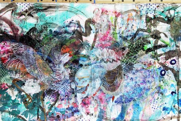 Artwork by Wakana Kimura incorporating Buddhist elements.