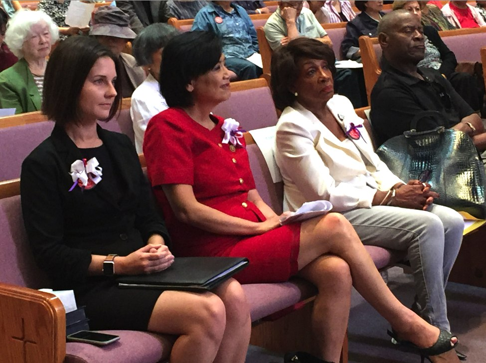 From left: Sarah Wiltfong, district director for Assemblymember David Hadley, and Reps. Judy Chu and Maxine Waters reaffirmed support for Koreisha's goals.