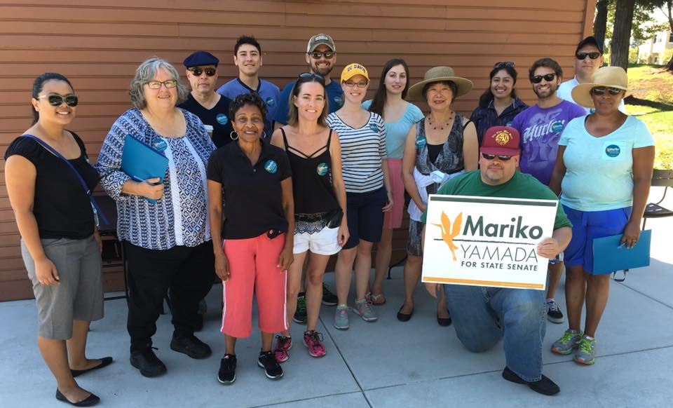 Mariko Yamada with supporters in Vacaville.
