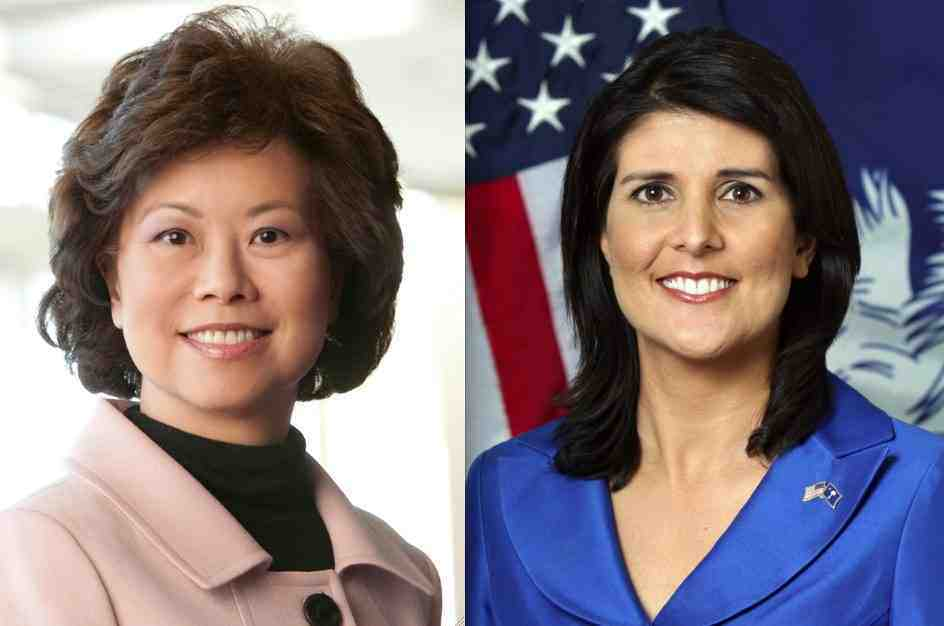 Former Secretary of Labor Elaine Chao and South Carolina Gov. Nikki Haley