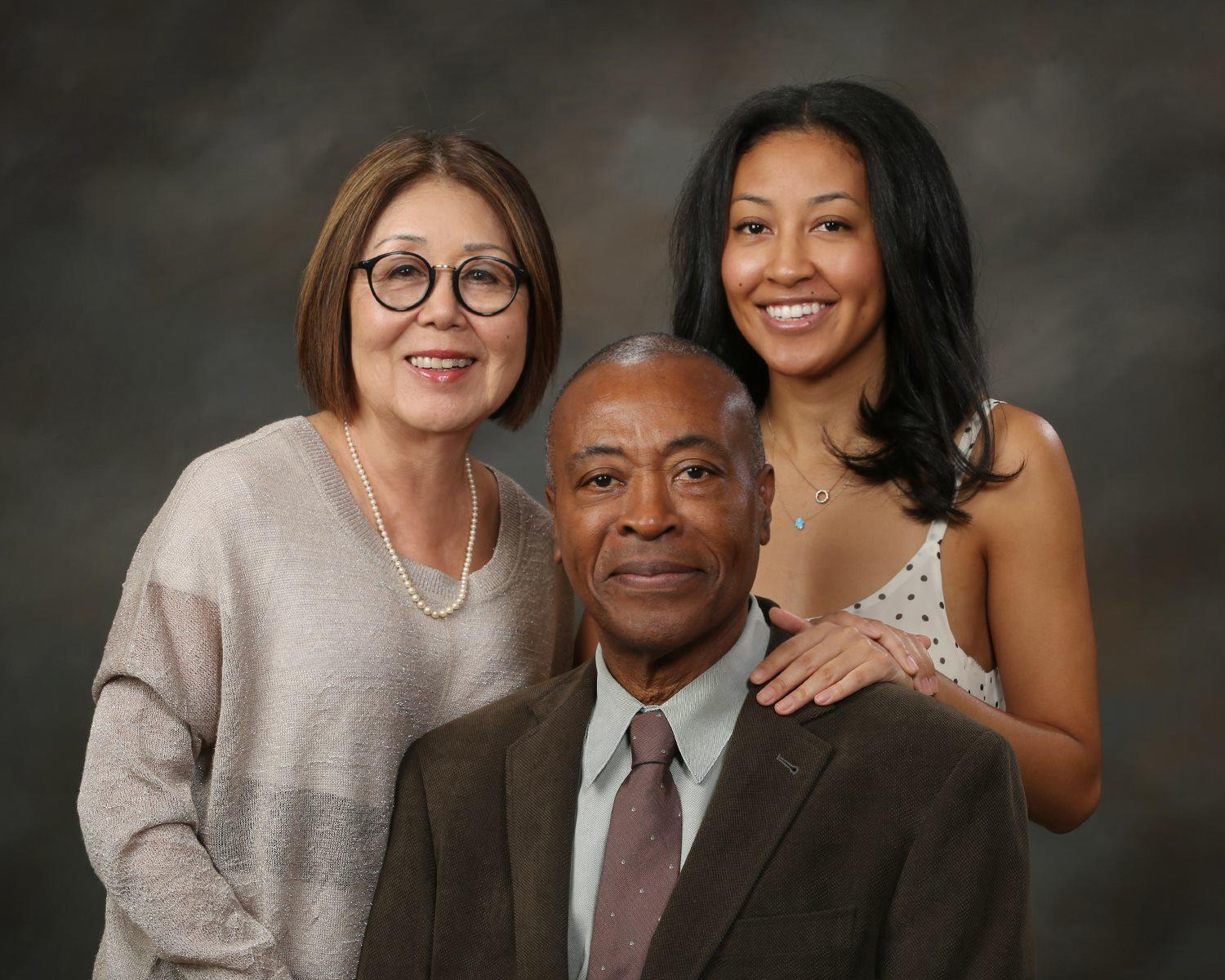 Janet Mitsui Brown with her husband, Roger Aaron Brown, and their daughter, Tani Erin Mitsui Brown.