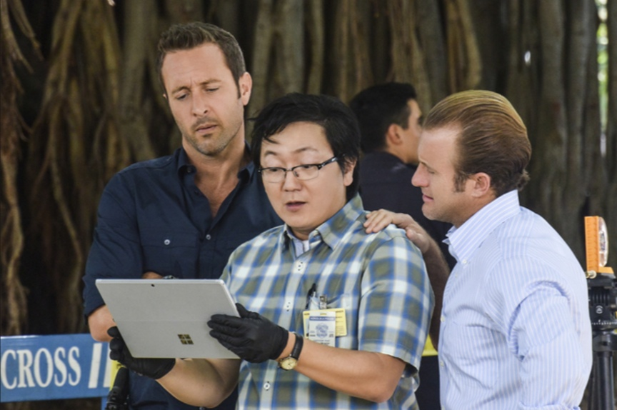 "Masi Oka as Dr. Max Bergman with Alex O'Loughlin as Steve McGarrett and Scott Caan as Danny Williams in a scene from ""Hawaii Five-0."""