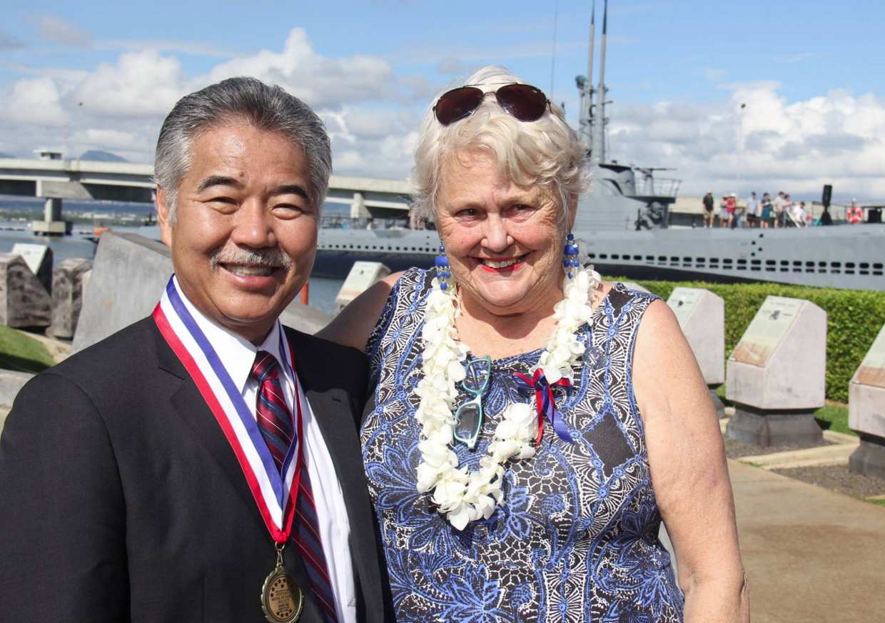 Gov. David Ige with Katya Shoemaker Spicuzza, the youngest living Pearl Harbor survivor, who was a baby living in Ford Island during the attacks.