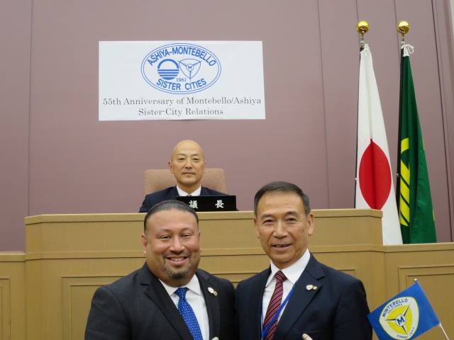 At Ashiya City Assembly Chambers. Top: Toshihiko Hatanaka, City Assembly chairman. Bottom: Montebello Mayor Art Barajas and Ashiya Mayor Ken Yamanaka.