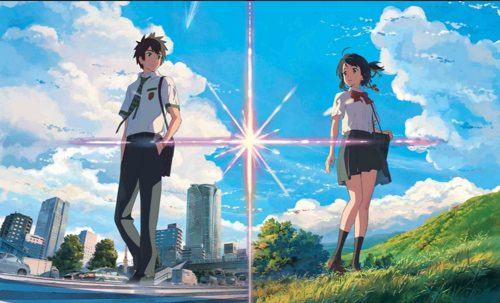 "Taki and Mitsuha are transported into each other's bodies in ""Your Name."""