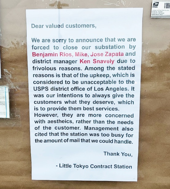 Canceled: Little Tokyo Post Office Abruptly Shut Down